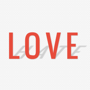 Love-hate text effect created with CSS3 rules