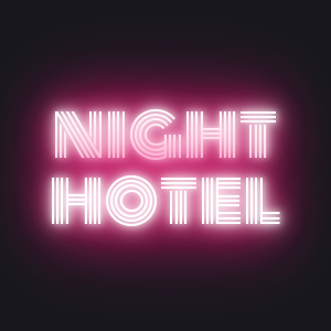 Neon night hotel label with CSS3 transitions and hover state